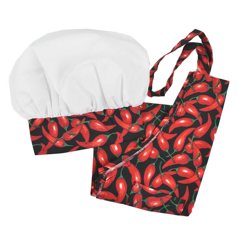 Intedge AHS-Y2 OCH Youth Apron Hat Set w/ 1 Hip Pocket, Chili Pepper Band