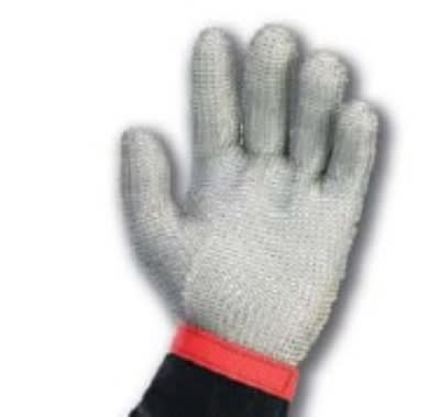 Intedge MM L 5-Finger Stainless Steel Mesh Glove w/ Poly Wrist Strap, Large