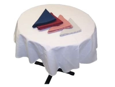 "Intedge TCM64R W 64"" Round Tablecloth w/ Hemmed Edge, White"