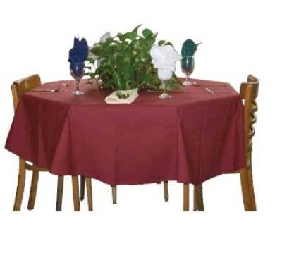 "Intedge TCM8181 BE 81"" Square Tablecloth w/ Hemmed Edge, Beige"