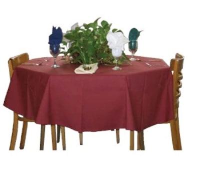 "Intedge TCM9090 BU 90"" Square Tablecloth w/ Hemmed Edge, Burgundy"