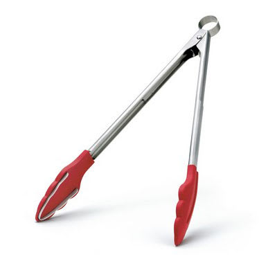 """Cuisipro 74-717805 12"""" Tongs w/ Teeth, Locking Pull Mechanism, Red"""