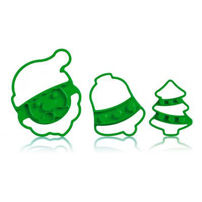 Cuisipro 74-7335 Christmas Cookie Cutter Set w/ Santa Claus, Bell, and Tree