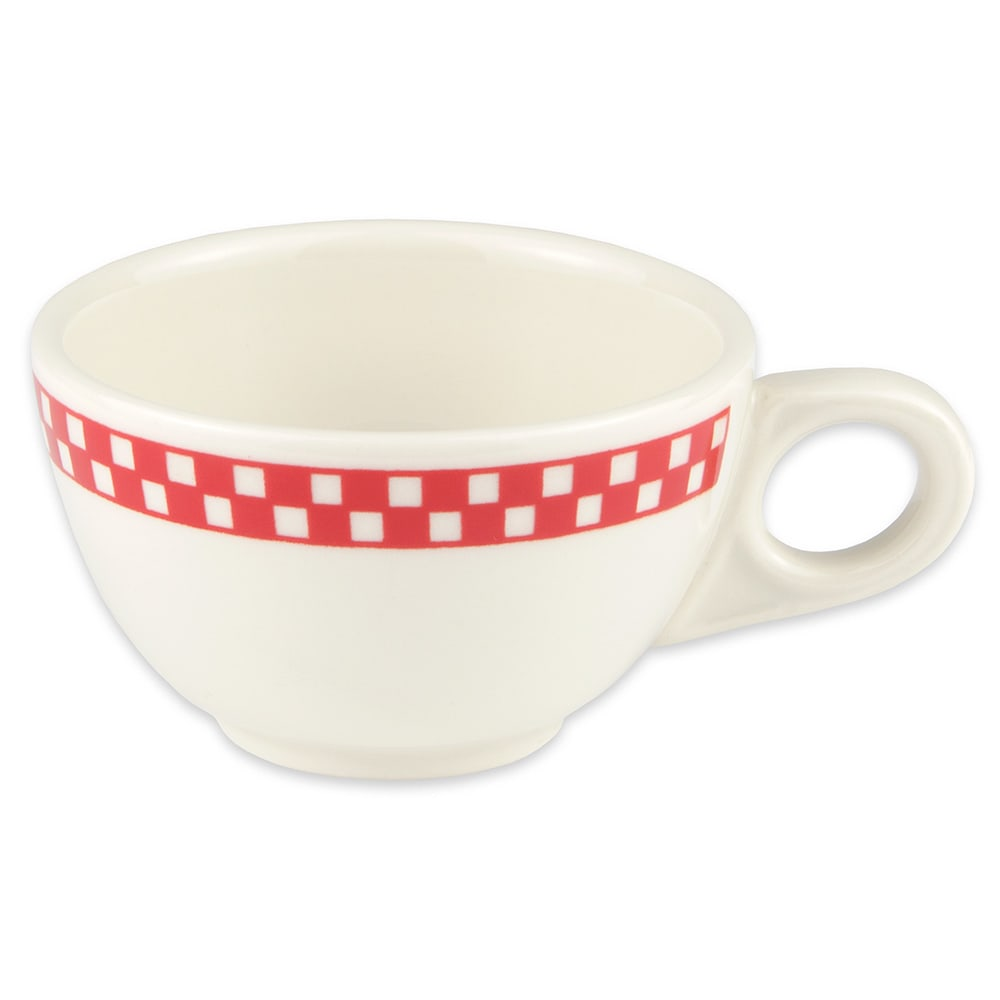 Homer Laughlin 1055413 7.75-oz Boston Cup - China, Ivory w/ Red Checkers