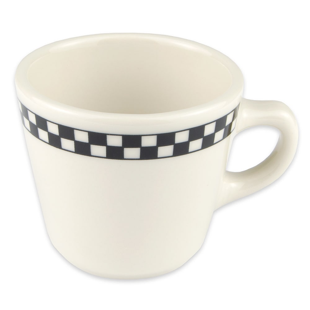 Homer Laughlin 1071636 6.75-oz Virginia Cup - China, Ivory w/ Black Checkers