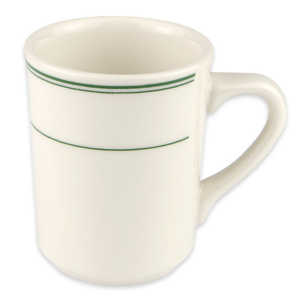 Homer Laughlin 1301 8.25-oz Denver Mug - China, Ivory w/ Green Band