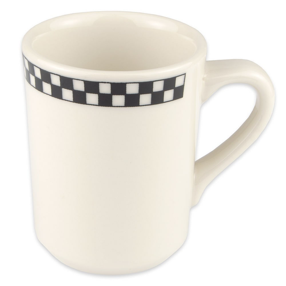 Homer Laughlin 1301636 8.25 oz Denver Mug - China, Ivory w/ Black Checkers