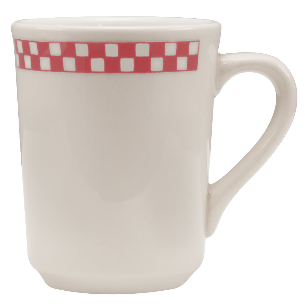 Homer Laughlin 1305413 8.25-oz Denver Mug - China, Ivory w/ Red Checkers