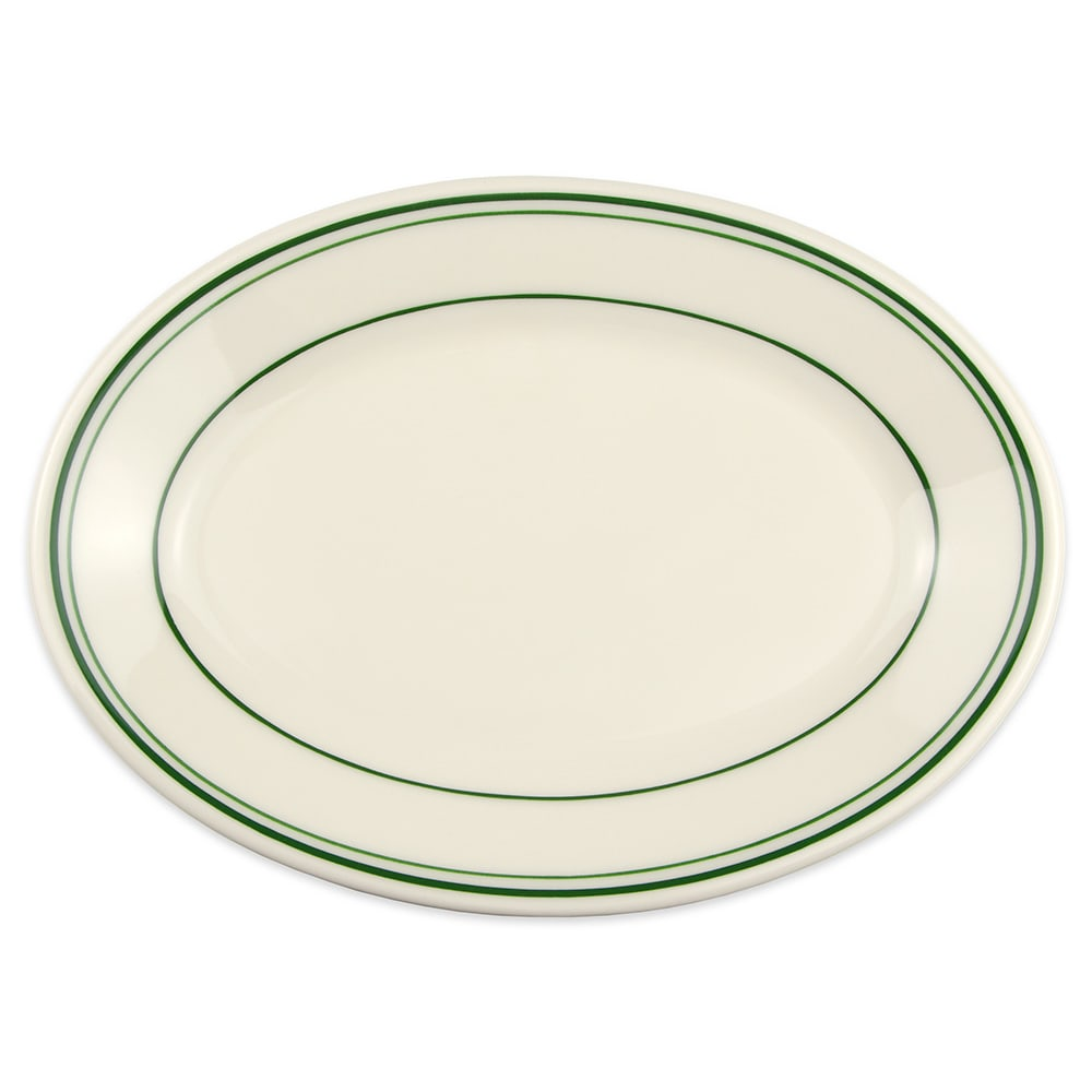 "Homer Laughlin 1531 9.5"" Oval Platter - China, Ivory w/ Green Band"