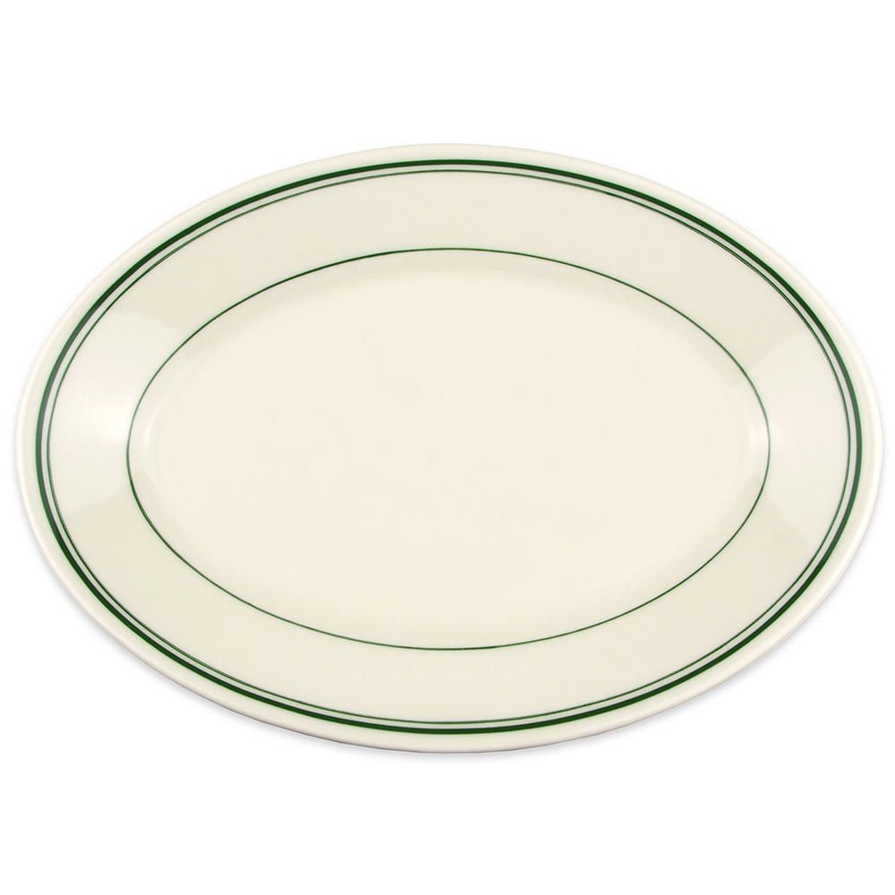 "Homer Laughlin 1551 11.75"" Oval Platter - China, Ivory w/ Green Band"