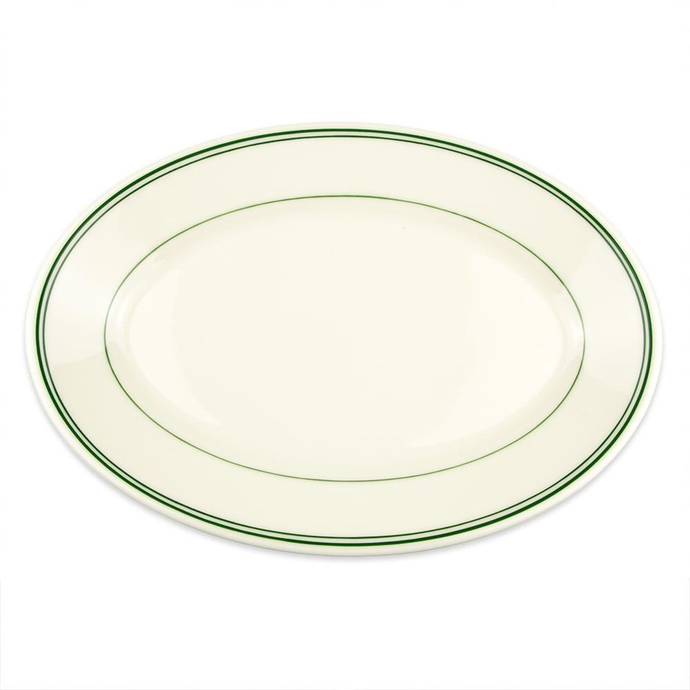 "Homer Laughlin 1571 13.38"" Oval Platter - China, Ivory w/ Green Band"