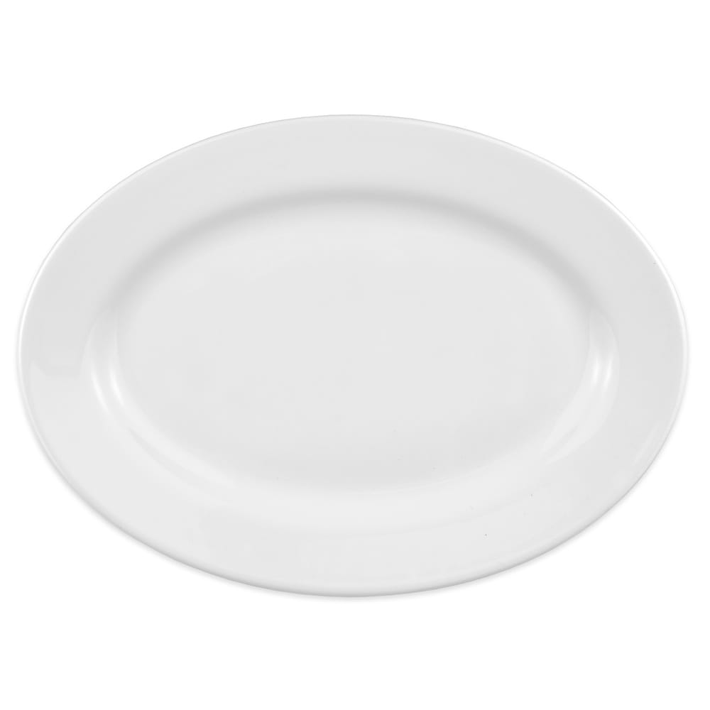 "Homer Laughlin 158810000 12.13"" Oval Newell Plate - China, Arctic White"