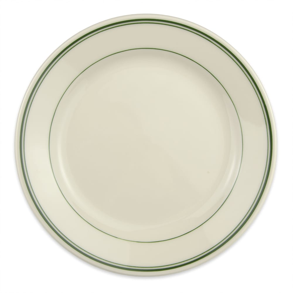 "Homer Laughlin 2051 9"" Round Plate - China, Ivory w/ Green Band"