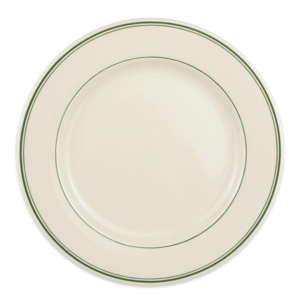 "Homer Laughlin 2081 11.13"" Round Plate - China, Ivory w/ Green Band"