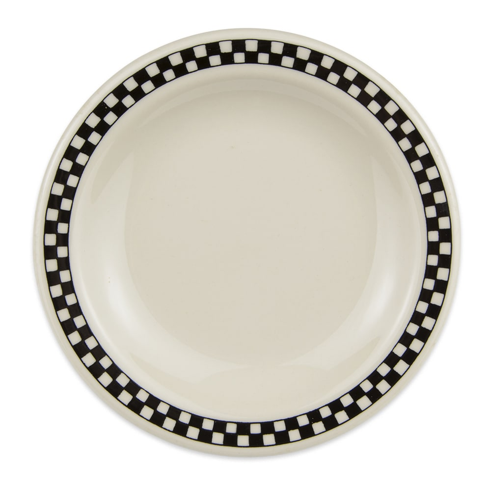 "Homer Laughlin 2111636 5.5"" Round Plate - China, Ivory w/ Black Checkers"