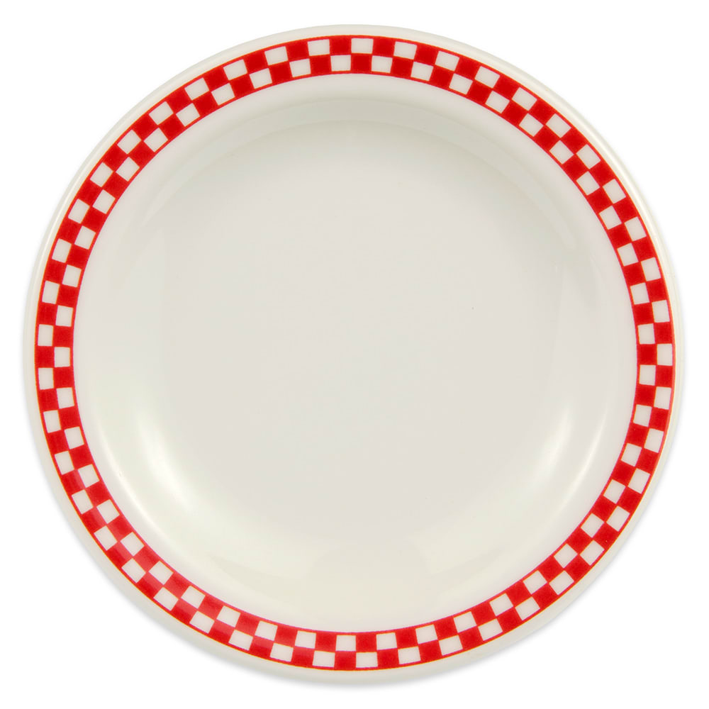 "Homer Laughlin 2115413 5.5"" Round Plate - China, Ivory w/ Red Checkers"