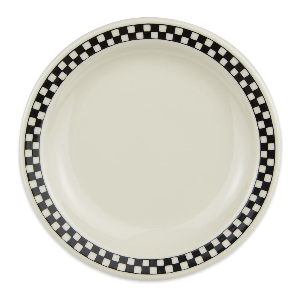 "Homer Laughlin 2121636 6.5"" Round Plate - China, Ivory w/ Black Checkers"