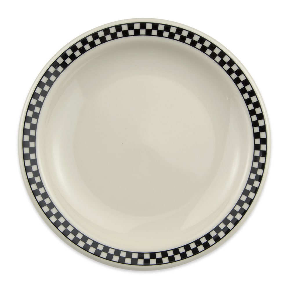 "Homer Laughlin 2131636 7.25"" Round Plate - China, Ivory w/ Black Checkers"