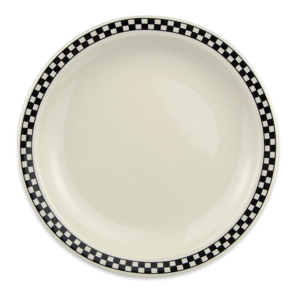 "Homer Laughlin 2161636 9.38"" Round Plate - China, Ivory w/ Black Checkers"