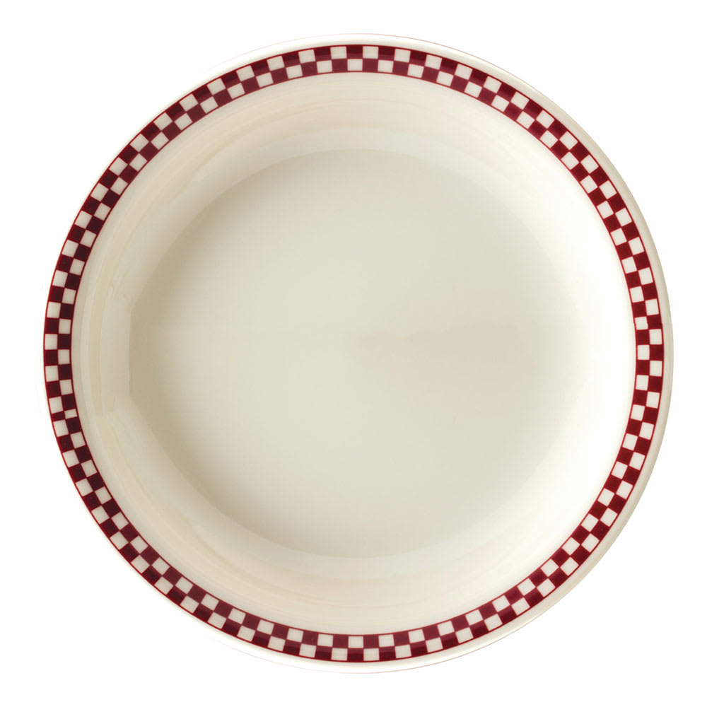 "Homer Laughlin 2165413 9.38"" Round Plate - China, Ivory w/ Red Checkers"