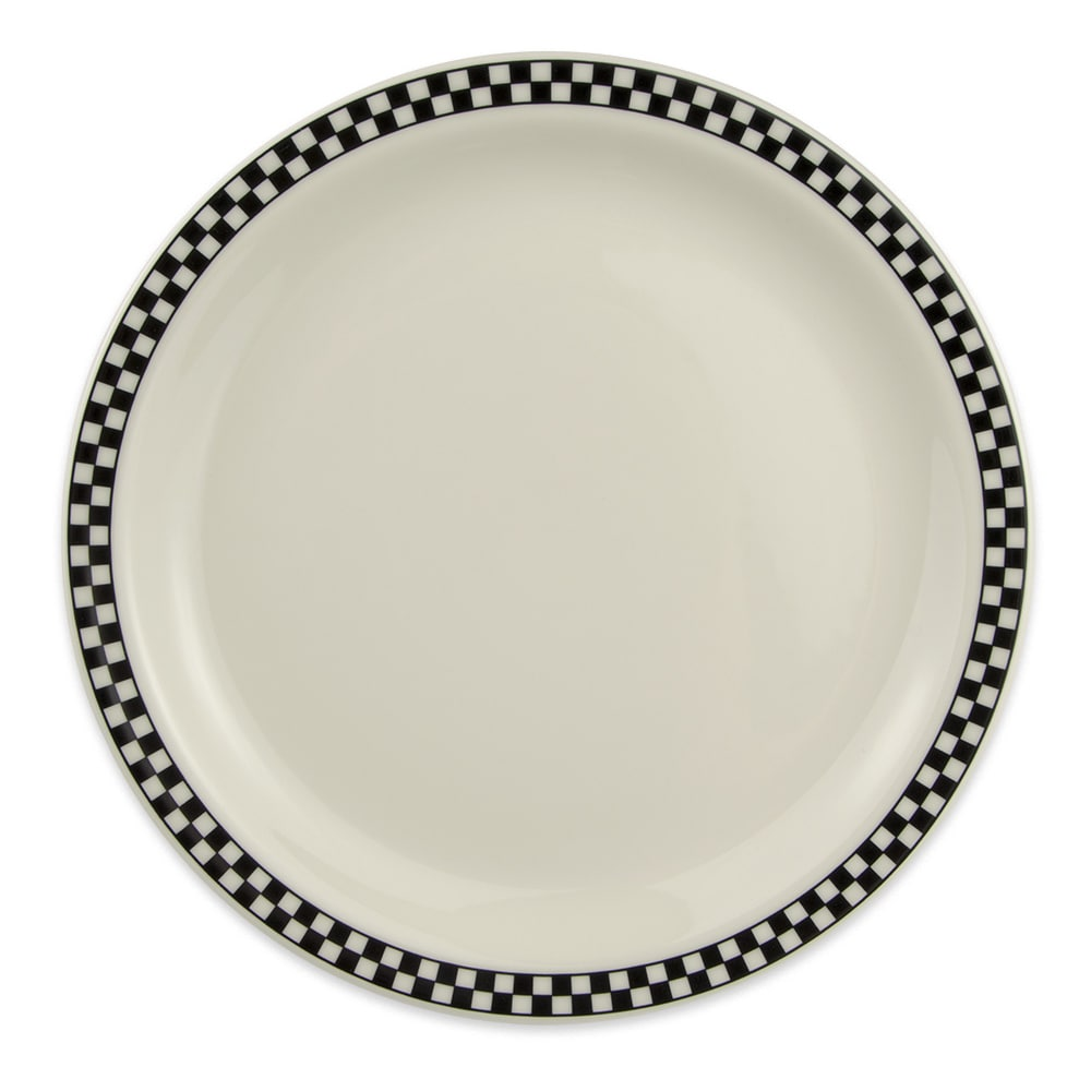 "Homer Laughlin 2171636 10.5"" Round Plate - China, Ivory w/ Black Checkers"