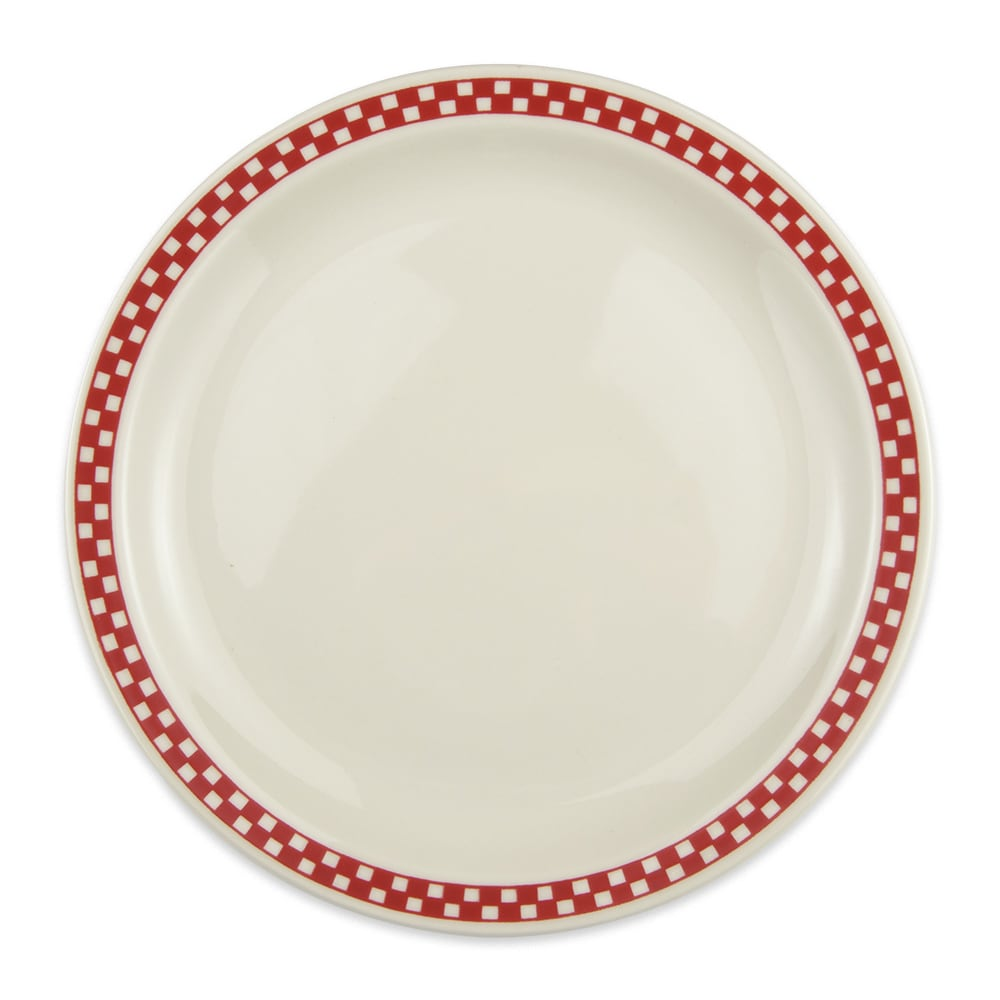 "Homer Laughlin 2175413 10.5"" Round Plate - China, Ivory w/ Red Checkers"