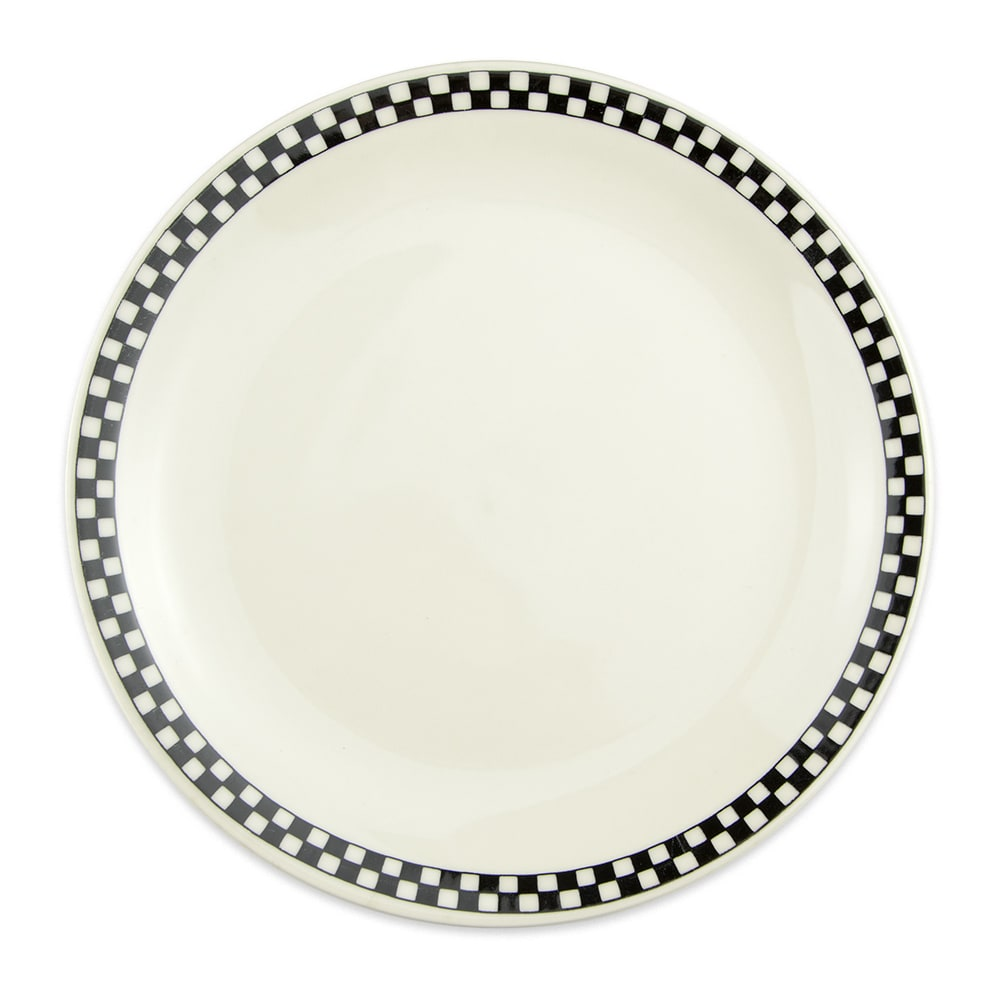 "Homer Laughlin 2241636 9"" Round Plate - China, Ivory w/ Black Checkers"