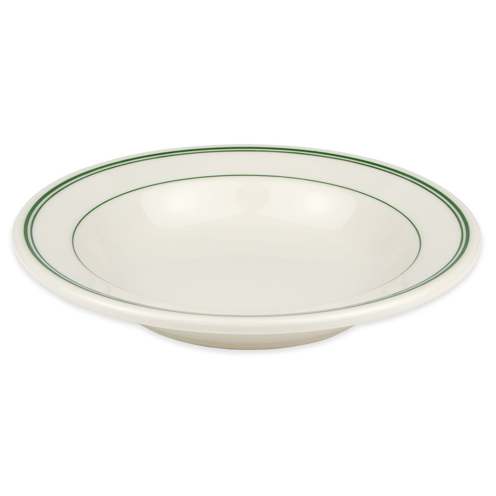 Homer Laughlin 2531 12.75-oz Rim Soup Bowl - China, Ivory w/ Green Band