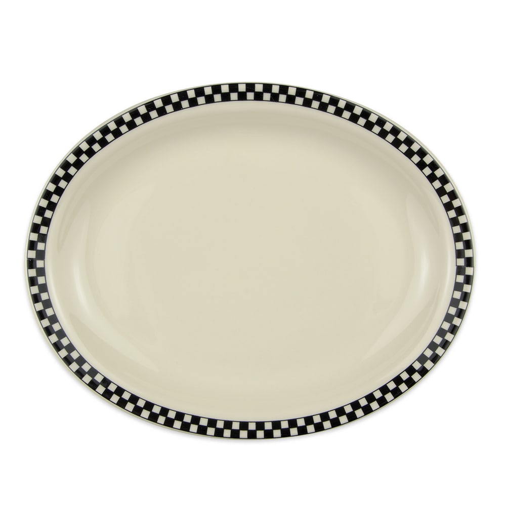 "Homer Laughlin 2601636 11.38"" Oval Platter - China, Ivory w/ Black Checkers"
