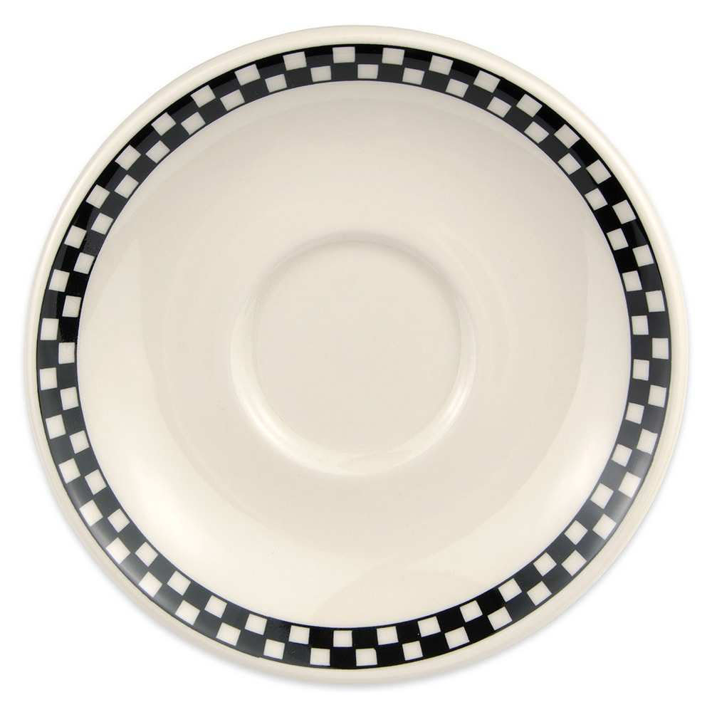 "Homer Laughlin 2821636 6"" Boston Saucer - China, Ivory w/ Black Checkers"
