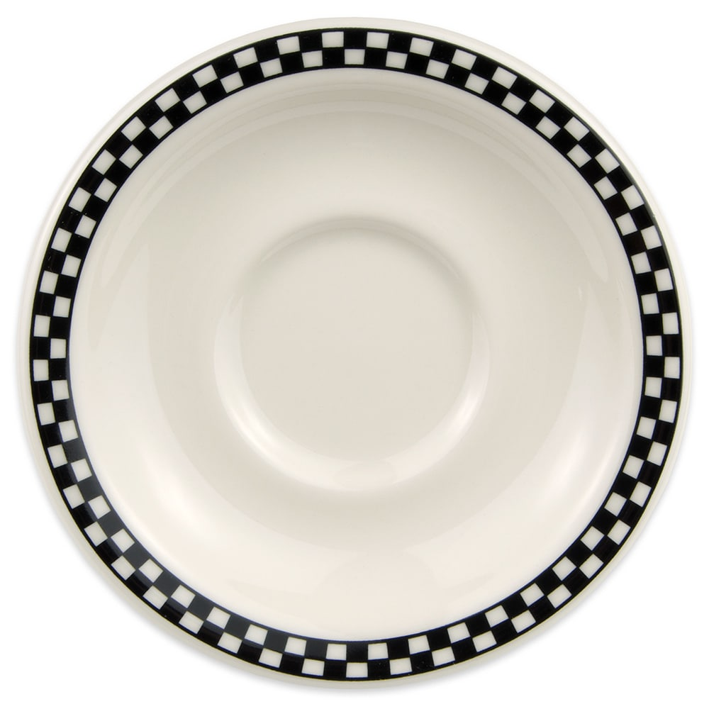 "Homer Laughlin 2831636 5.5"" Texas Saucer - China, Ivory w/ Black Checkers"