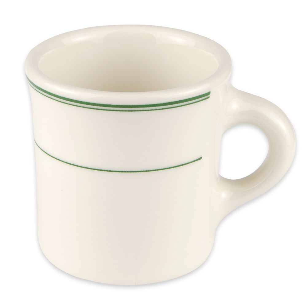 Homer Laughlin 3001 8.75-oz Coffee Mug - China, Ivory w/ Green Band