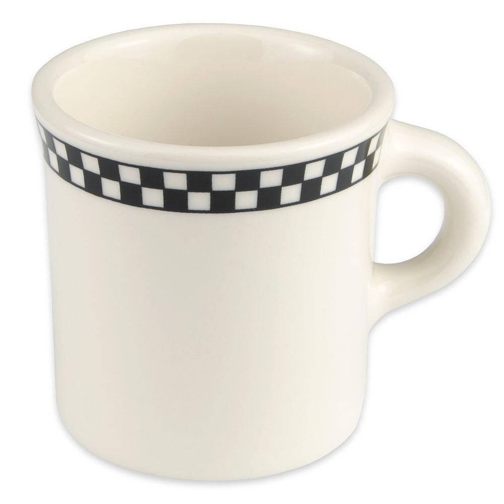 Homer Laughlin 3001636 8.75 oz Mug - China, Ivory w/ Black Checkers