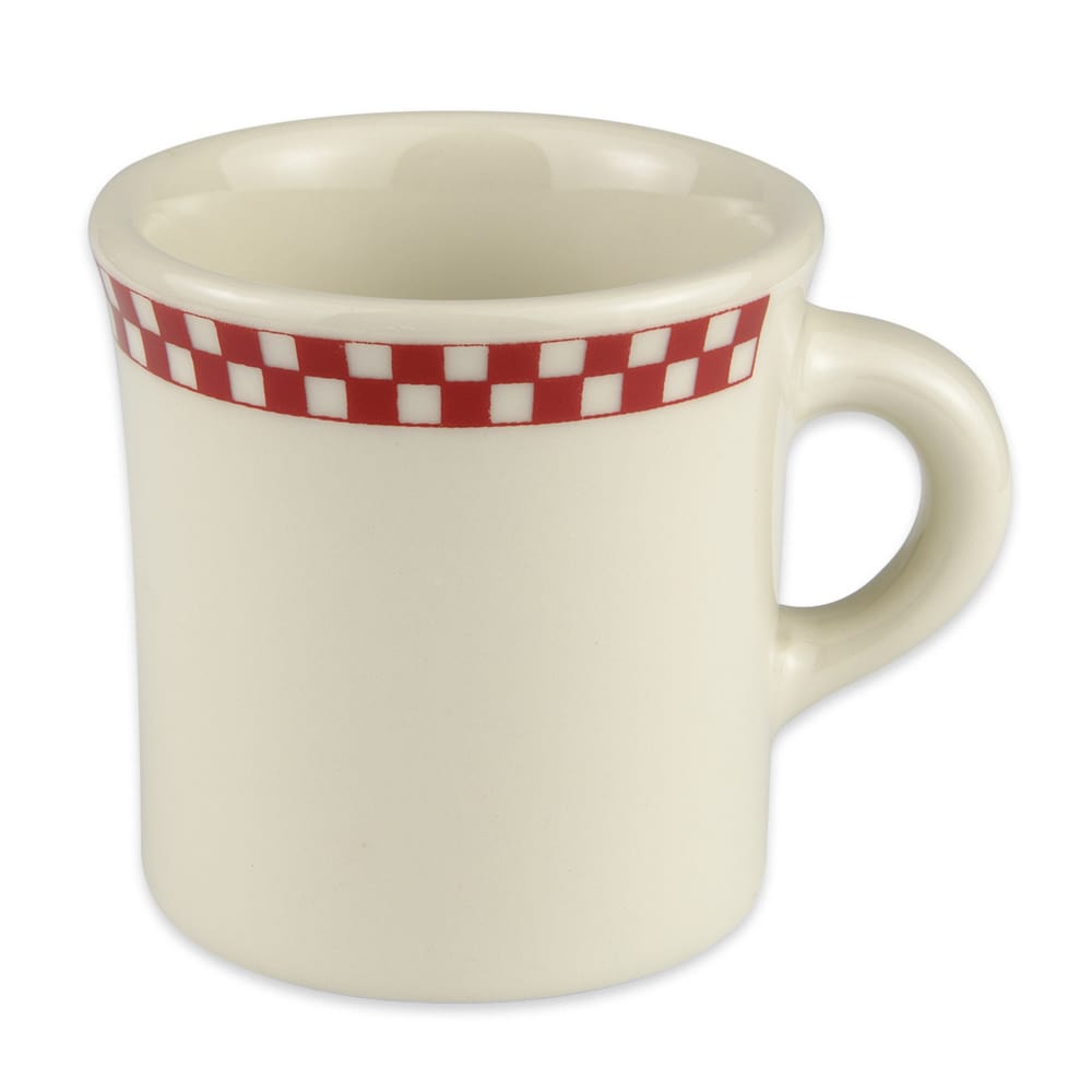 Homer Laughlin 3005413 8.75-oz Mug - China, Ivory w/ Red Checkers