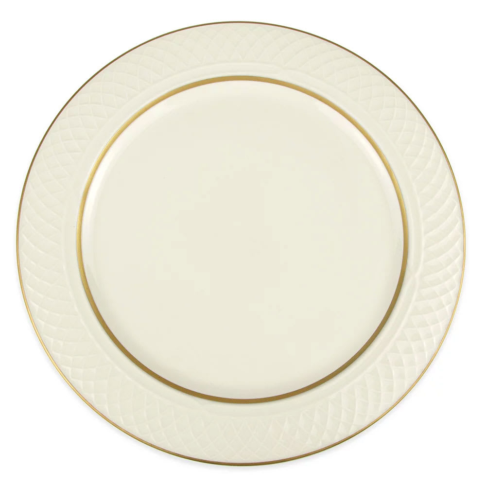 """Homer Laughlin 3421420 12.5"""" Round Gothic Westminster Plate - China, Ivory"""