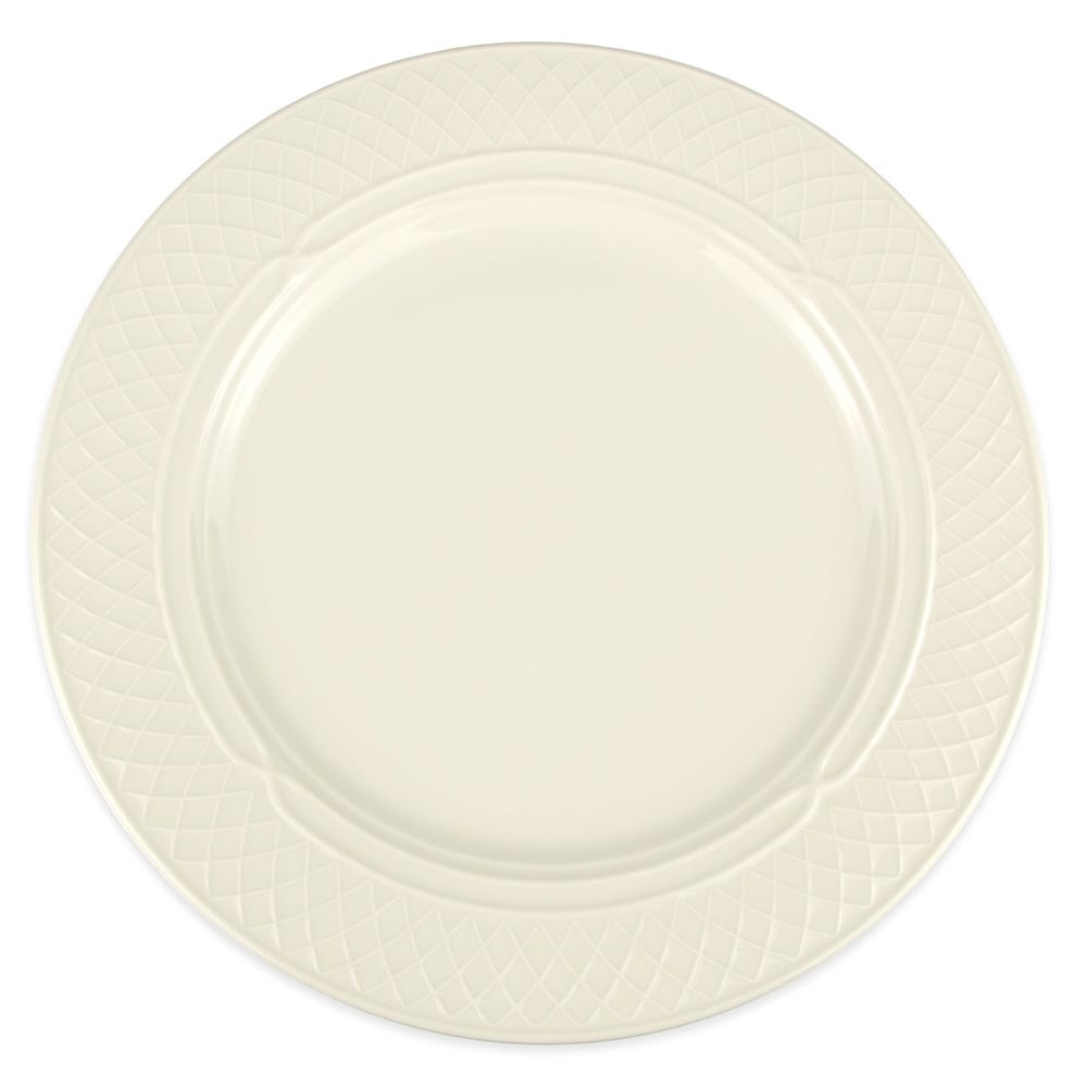 "Homer Laughlin 3427000 12.5"" Round Gothic Blanc Plate - China, Ivory"