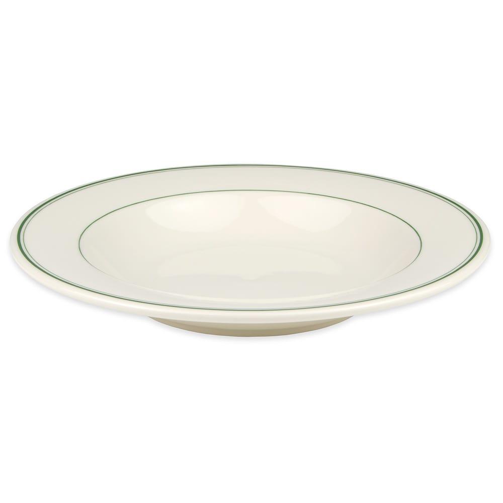 Homer Laughlin 3801 20 oz Pasta Bowl - China, Ivory w/ Green Band
