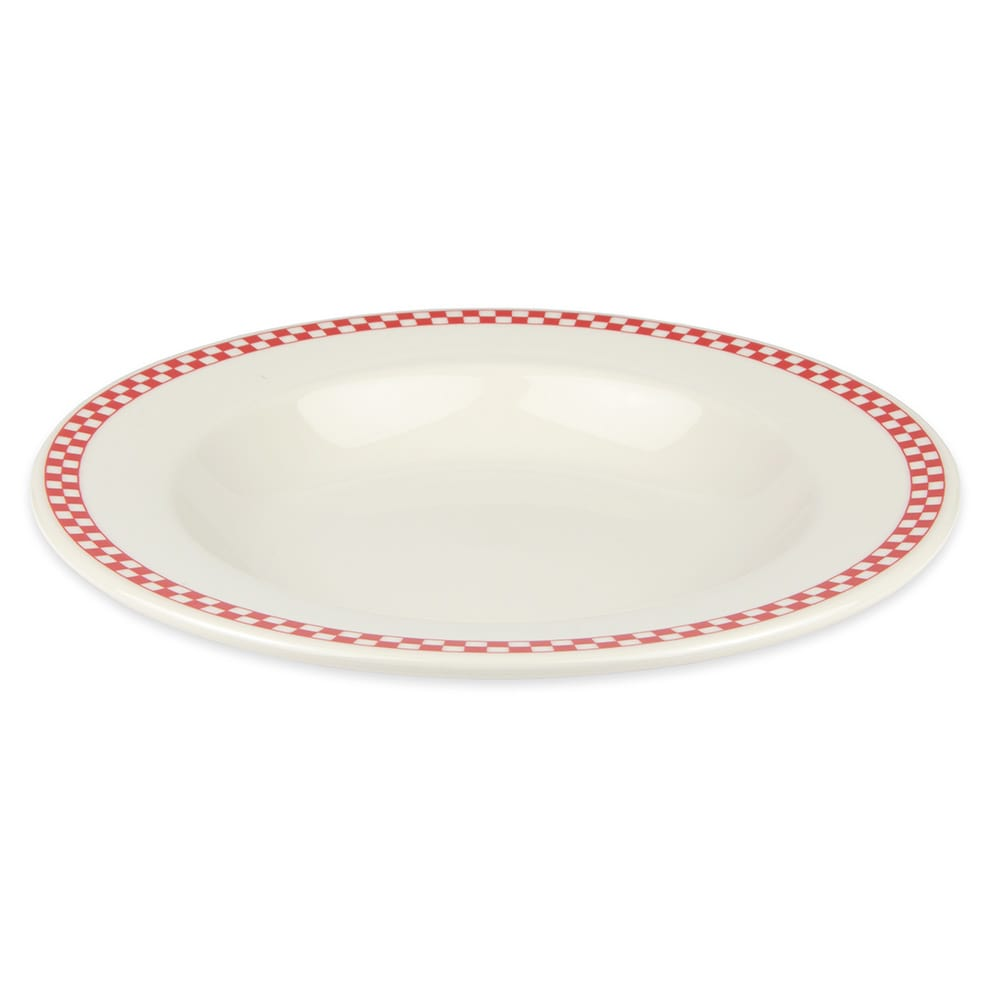 Homer Laughlin 3805413 20-oz Pasta Bowl - China, Ivory w/ Red Checkers
