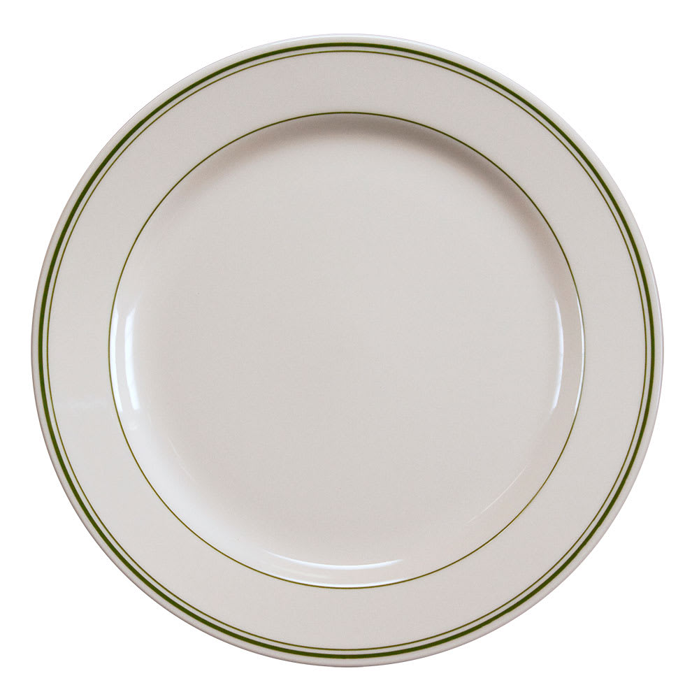 "Homer Laughlin 4441 10.63"" Round Plate - China, Ivory w/ Green Band"