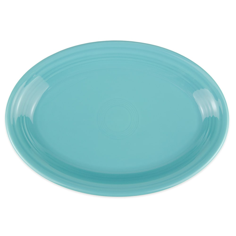 "Homer Laughlin 458107 13.63"" Oval Fiesta Platter - China, Turquoise"
