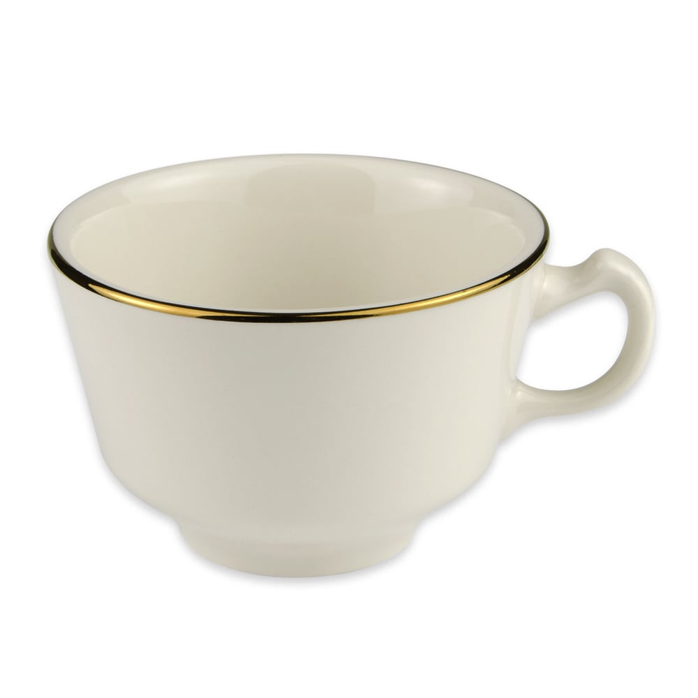 Homer Laughlin 7001409 7.75 oz Diplomat Gold Cup - China, Ivory