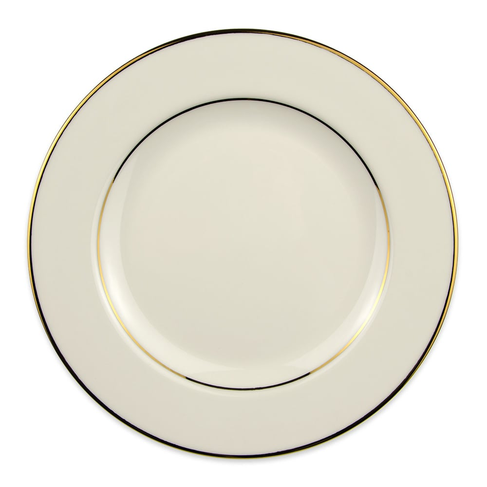 "Homer Laughlin 7021409 10"" Round Diplomat Gold Plate - China, Ivory"