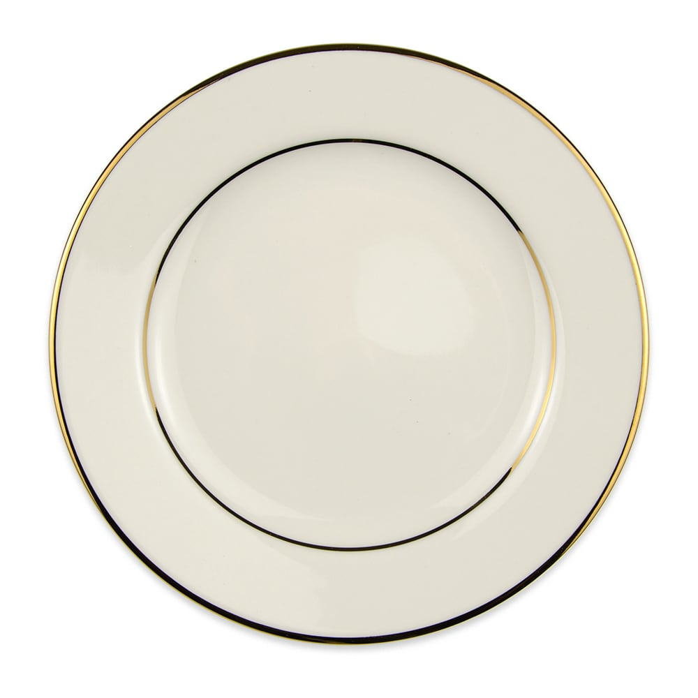 "Homer Laughlin 7031409 7"" Round Diplomat Gold Salad Plate - China, Ivory"