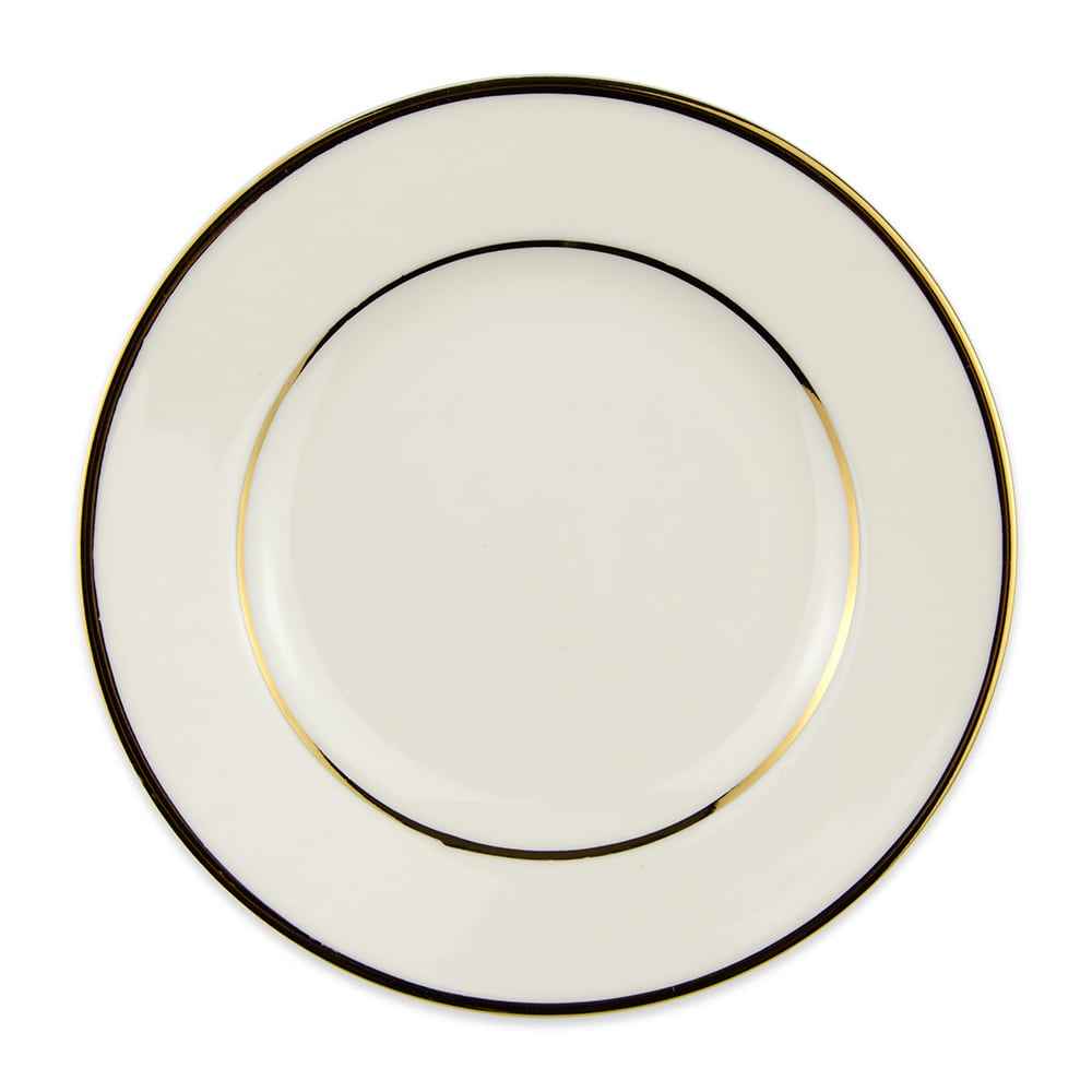 "Homer Laughlin 7121409 6"" Round Diplomat Gold Bread & Butter Plate - China, Ivory"