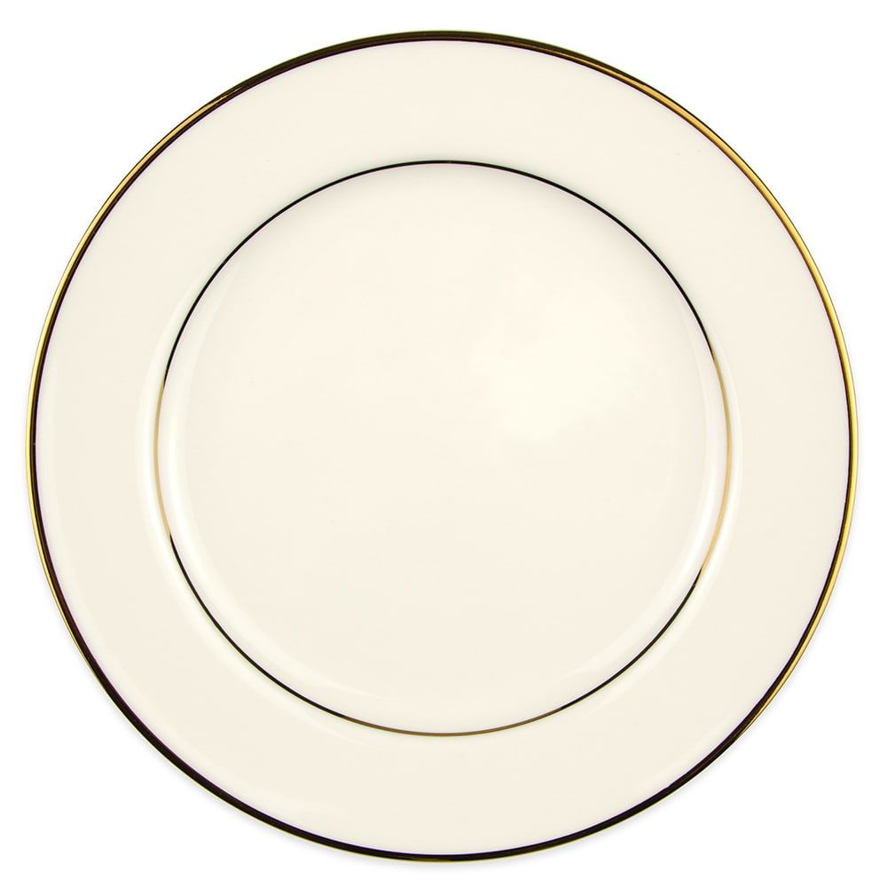 "Homer Laughlin 7311409 9"" Round Diplomat Gold Plate - China, Ivory"