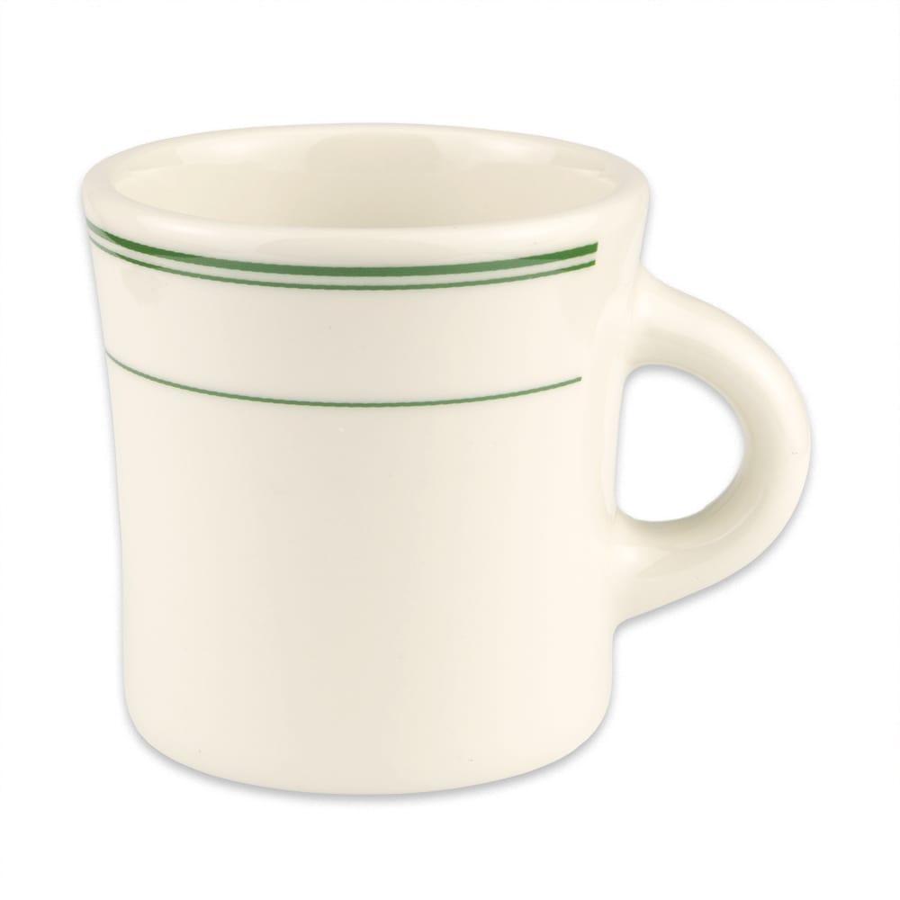Homer Laughlin 9821 13 oz Jumbo Mug - China, Ivory w/ Green Band