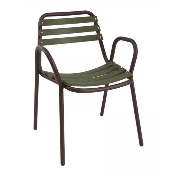 "emu 097 31.5"" Light Stacking Arm Chair w/ Wood Slat Back & Seat - Aluminum, Bronze & Cedar"