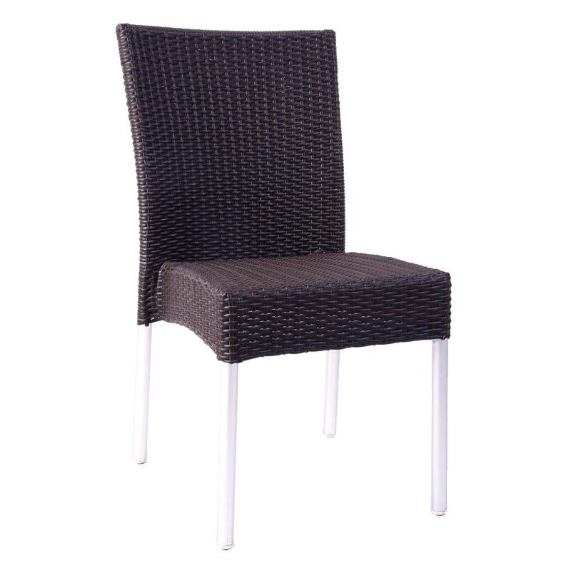 emu 1008 Bella Stacking Side Chair, Wicker, Aluminum, Espresso