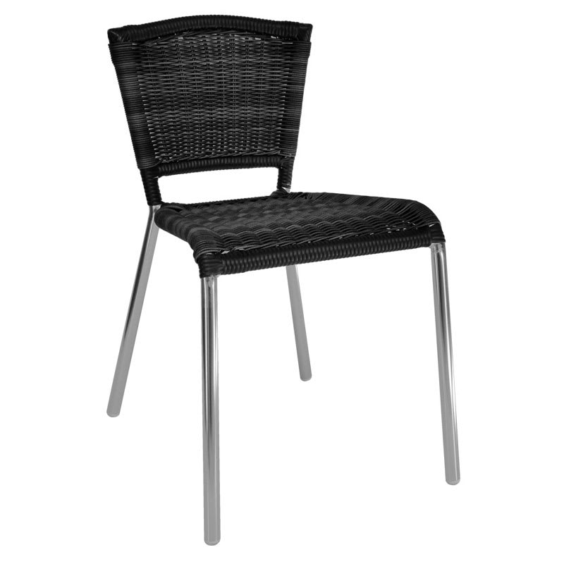 emu 1009 Laura Stacking Side Chair, Wicker Seat & Back, Aluminum, Black