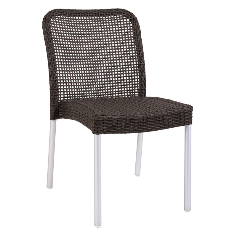 emu 1011 Rita Stacking Side Chair, Wicker, Matte Aluminum, Espresso